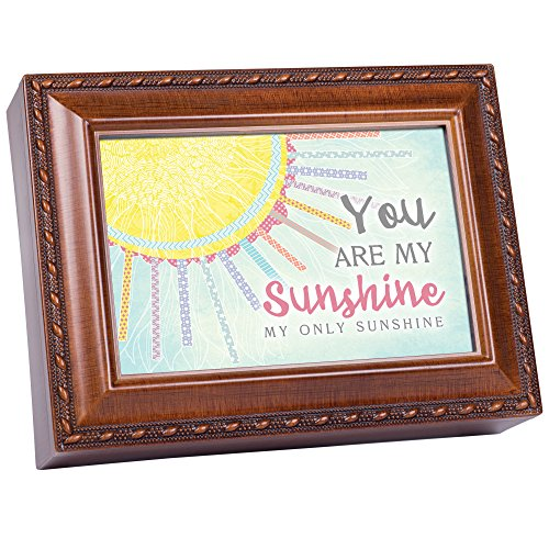 Cottage Garden You are My Only Sunshine Patchwork Woodgrain Keepsake Music Box Plays You are My Sunshine