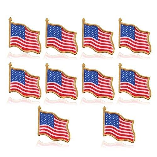 (UEETEK 10PCS American Flag Waving Lapel Pins United States USA Hat Tie Tack Badge Pin)