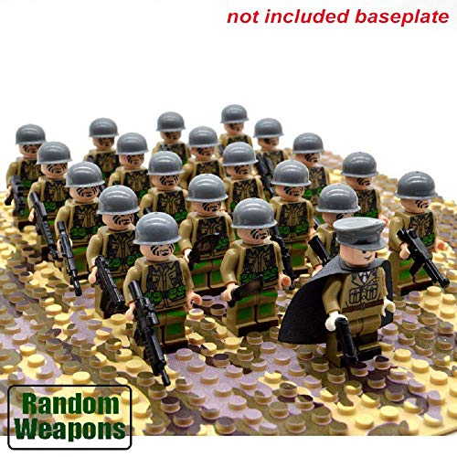Titini 21PCs/Set WW2 Army Military Building Blocks France Italy Japan Britain China Small Soldier Officer Weapons Bricks Toys (21Pcs US Troops) ()