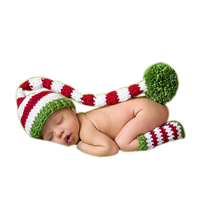 75678816e1b Amazon.com  MUTONG Newborn Baby Boy Girl Photography Props Outfits Knitted Christmas  Hat Boots  Clothing