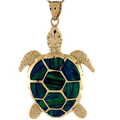 14k Yellow Gold Gorgeous Lined Blue Green Simulated Opal Sea Turtle Pendant by Jewelry Liquidation