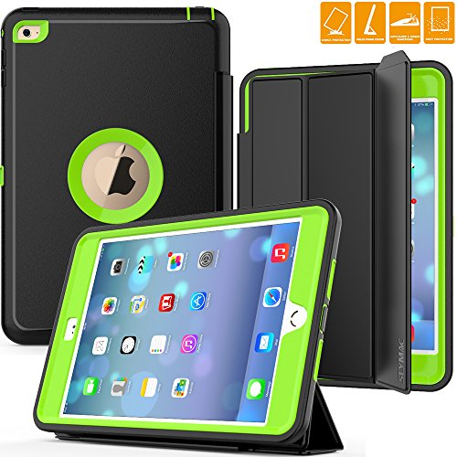 iPad Mini 4 Case, SEYMAC Three Layer Drop Protection Rugged Protective Heavy Duty iPad Mini Case with Magnetic Smart Auto Wake/Sleep Cover for iPad Mini 4 Smart Case(Black/Green) ()