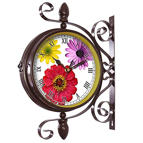 girlsight Wrought Iron Antique-Round Clock Wall Retro Station Chandelier Double Sided Wall Clock -360 Degree Quiet Grand Central Station Wall Clock435.Isolated Flower Clipart(2)