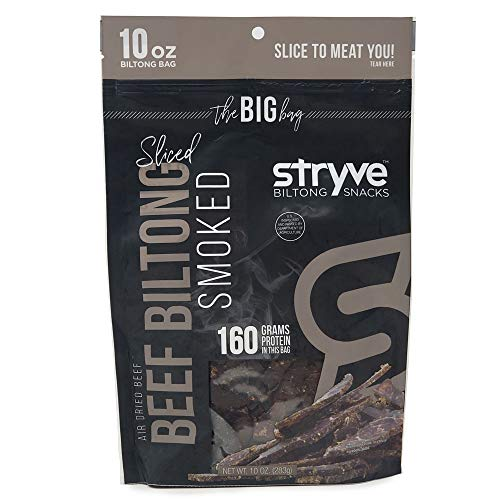 - Stryve Keto Protein Snacks | 100% All-Natural Beef Biltong | More Protein than Beef Jerky, Gluten Free, Low Carb, Paleo, Sugar Free | Smoked, 10oz