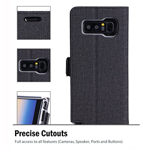 Samsung Galaxy Note 8 Wallet Case, ProCase Folio Folding Wallet Case Flip Cover Protective Case for Galaxy Note 8 2017 Release, With Card Slots and Kickstand -Black by ProCase (Image #4)