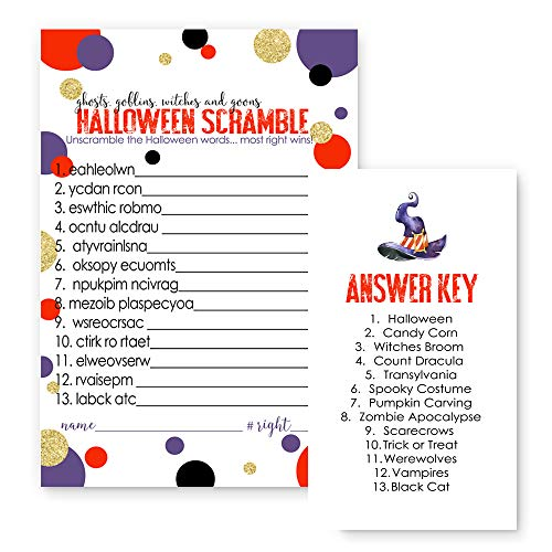 Halloween Word Scramble Party Game Set of 25