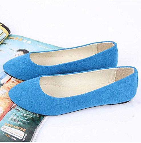 donna carriera scarpe blue pigro LvYuan amp; CN43 pelle ufficio mocassini sky casual comodità piatto moda tacco ginnastica da da Scarpe scarpe casual amp; camminate scamosciata EawAq0a