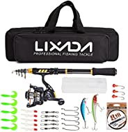Lixada Fishing Rod and Reel Combos Full Kit, Telescopic Fishing Gear Organizer Pole Sets with Line Lures Spinn