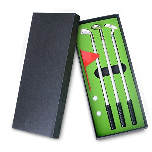 Golf Pen Set,Moonplayer Mini Desktop Golf Ball Pen Gift Set Putting Green, 3 Golf Club Pens & Balls