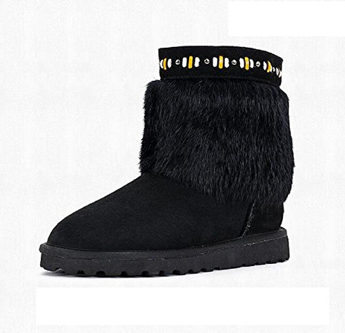 Antideslizante de piel de conejo de piel de ajuste de botas de piel de oveja de tacón bajo botas de nieve botas black