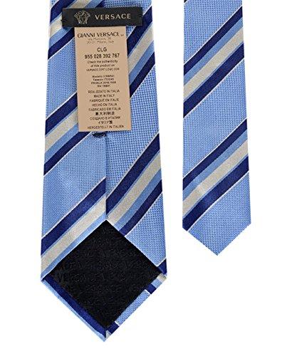 Versace Men's Multi Striped Woven Silk Necktie Lt. Blue-Navy by Versace (Image #1)