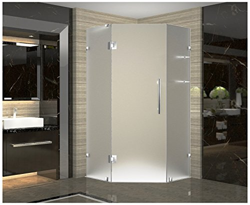 Neo Angle Shower Enclosure (Aston SEN991F-SS-34-10 Neoscape GS Completely Frameless Frosted Glass Neo-Angle Shower Enclosure with Glass Shelves in Stainless Steel Finish, 34