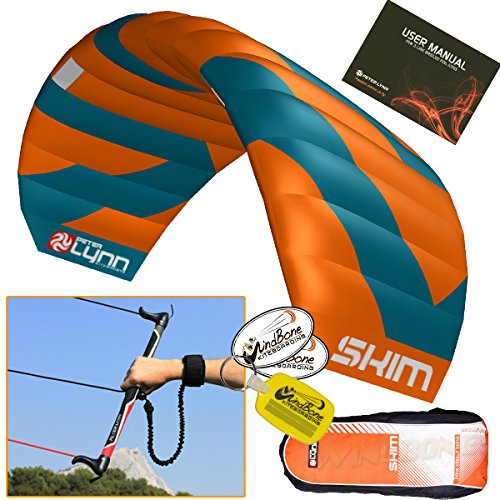 (Peter Lynn Skim 2.8M 3-Line Water Relaunchable Trainer Kite Control Bar Bundle + WindBone Key Chain + Stickers - Kitesurfing Kiteboarding Power Foil Traction Kiting)