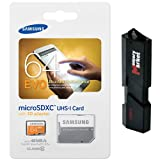 Samsung Electronics 64GB EVO Micro SDXC Upto 48MB/s Class 10 Memory Card (MB-MP64DA) with Adapter and MemoryMarket USB 3.0 Ultra High Speed 2-slot MicroSD HC and SD HC Memory Card Reader