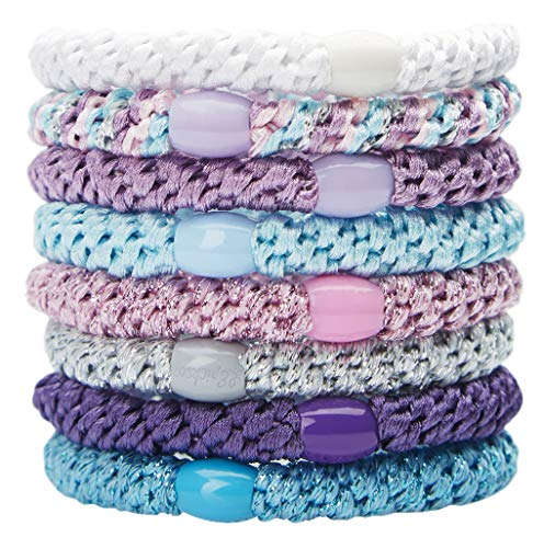 L. Erickson Grab & Go Ponytail Holders, Purple Daze, Set of Eight - Exceptionally Secure with Gentle Hold