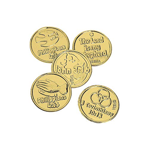 Fun Express Plastic Bible Verse Gold Coins - 144 Piece Pack]()