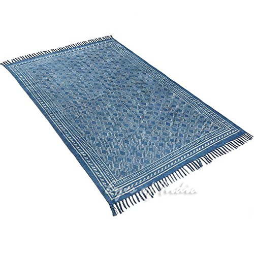 EYES OF INDIA - 4 X 6 ft Indigo Blue Cotton Block Print Accent Area Dhurrie Rug Flat Weave Hand Woven