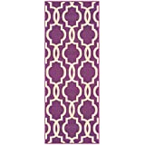 Custom Size Purple Moroccan Trellis Rubber Backed Non Slip Hallway Stair Runner  Rug 22in X 6ft