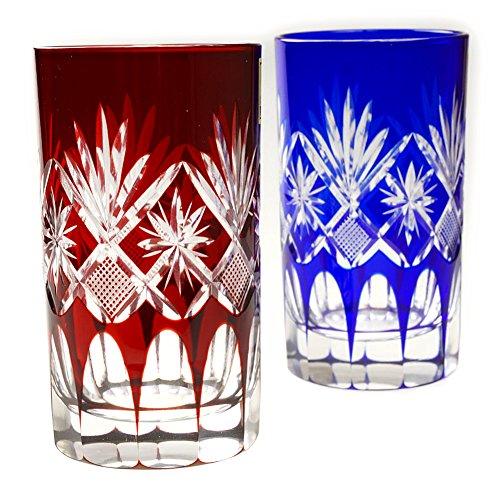 Pair of Red & Blue Star Motif High Ball Glass 7.4Oz Edo Kiriko Design Cut Glass Drinkware - Pair [Japanese Crafts Sakura] by Japanese Crafts Sakura