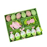 Northlight Set of 16 Pink, Green and White Easter Egg, Chicken & Bunny Spring Decorations