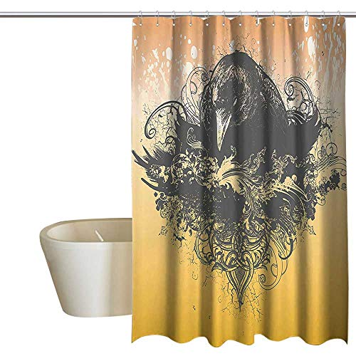 Black Decor Waterproof Bathtub Curtain Halloween Theme Vector Illustration of a Wicked Crow and Flowers Print Shower Curtain Rustic W72 x L84 Black and Mustard