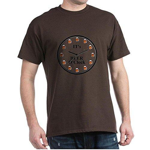 (CafePress Its Beer O'clock 100% Cotton T-Shirt Brown)