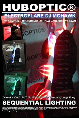 DJ Mohawk - Light Up Steampunk Mohawk ElectroFlare - Cyber Cyberpunk Flame Headwear Future Helmet Dancer Mohawk Light Up Fire Costume Flash Hat LED (Flame Dancer Costume)