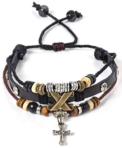 [Areke Alloy Genuine Leather Bracelet Mens Unisex Bangle Rope Cross Surfer Wrap Adjustable Bracelets] (Homemade Kids Costumes Easy)