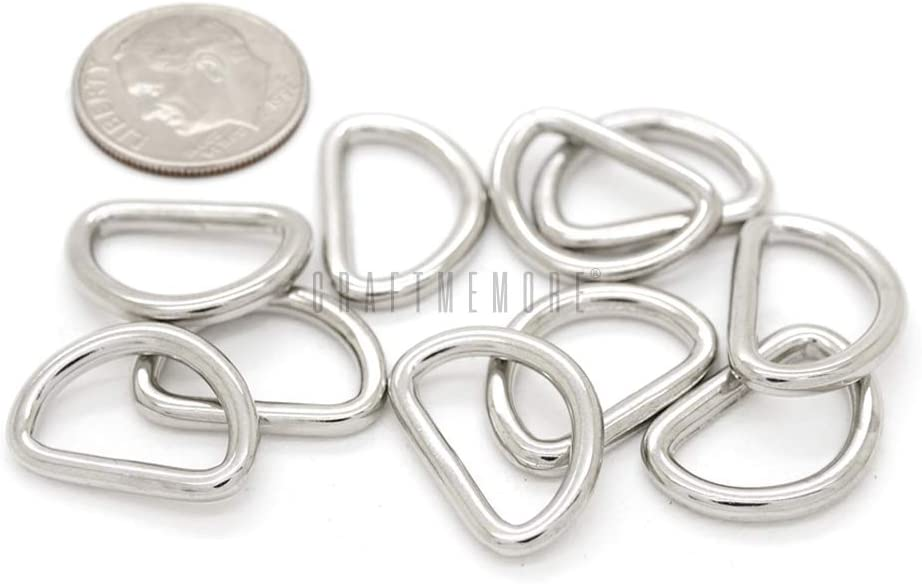 CRAFTMEmore Swivel Trigger Snap Hooks Purse Landyard Clip Lobster Clasps with D-Rings 10 Sets F979 Silver