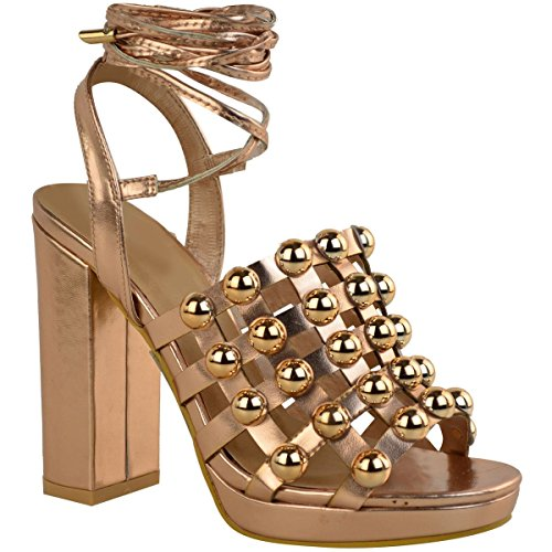 Miss Image UK Womens Ladies Strappy Ankle TIE up HIGH Block Heel Platform Strappy Studs Sandals Shoes Size Rose Gold Metallic FqgVzb9