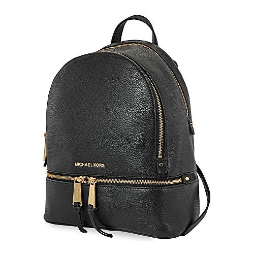MICHAEL Michael Kors Rhea Zip Medium Leather Backpack, Black (Michael Kors Flache)