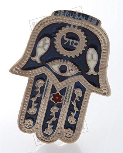(Hamsa Blue MAZAL Hebrew MAGNET Israel Kabbalah Judaica Evil Eye Lucky Charm)
