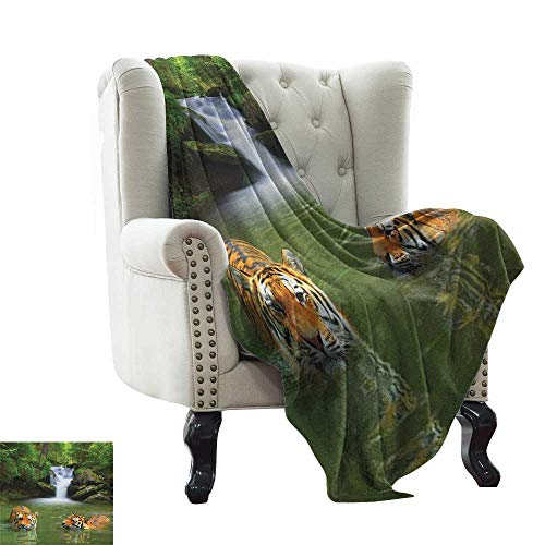 Cheap Weighted blanket Safari Siberian Tigers in Water Waterfall Pool Woodland Swimming Asian Natural Reseda Green Orange Luxury Flannel Throw Blankets for Bed(Lightweight Super Soft) 35