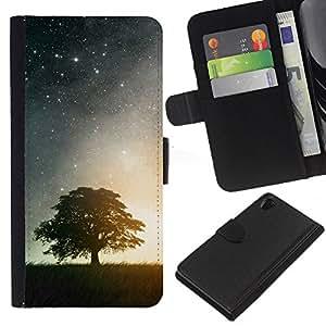 KLONGSHOP // Tirón de la caja Cartera de cuero con ranuras para tarjetas - Noche Estrellas y árbol - Sony Xperia Z2 D6502 //