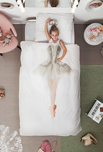 (SNURK Duvet Cover Set Duvet Cover with Matching Pillowcase - 100% Cotton Duvet Cover and Pillow Case Set for Kids - Soft Cover Bedding for Your Little One - Life-Size Princess for Twin-Size Beds and )