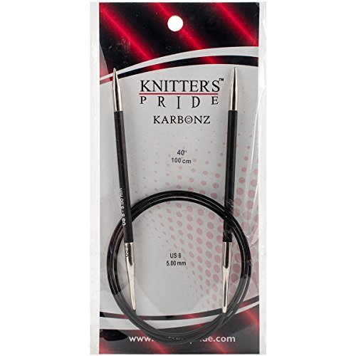 Fixed Knitting Needles Circular (Knitter's Pride Karbonz Circular 40-inch (100cm) Knitting Needles; Size US 8 (5.00mm) 110277)