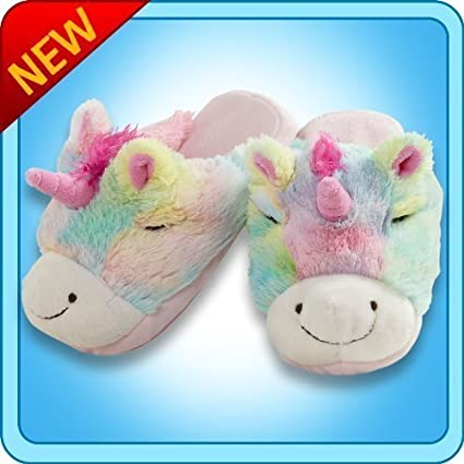 Amazon.com  My Pillow Pets® - Rainbow Unicorn Slippers - Medium ... 4405720eb