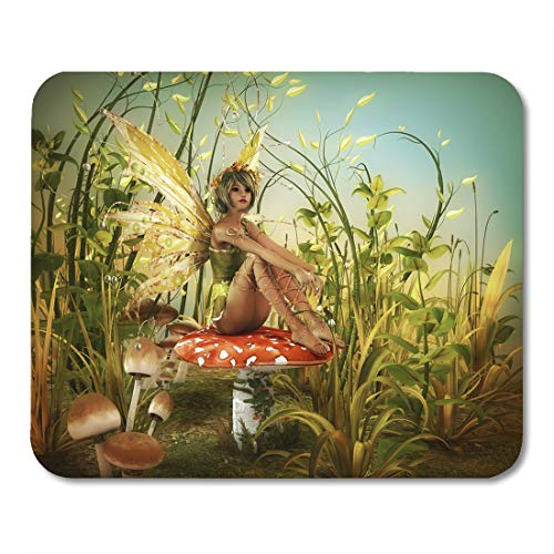 Boszina Mouse Pads Colorful Fantasy Green Fairy Enjoy The Last Sunbeams Red Forest Butterfly Mouse Pad for notebooks,Desktop Computers mats 9.5