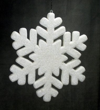 Factory Direct Craft Set of 6 Sparkling White Glitter Snowflakes Holiday Decorations -