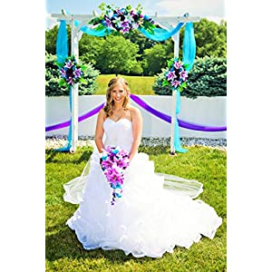 Cascade Wedding Bouquet - Turquoise Purple and Lavender Roses with White Calla Lilies 3