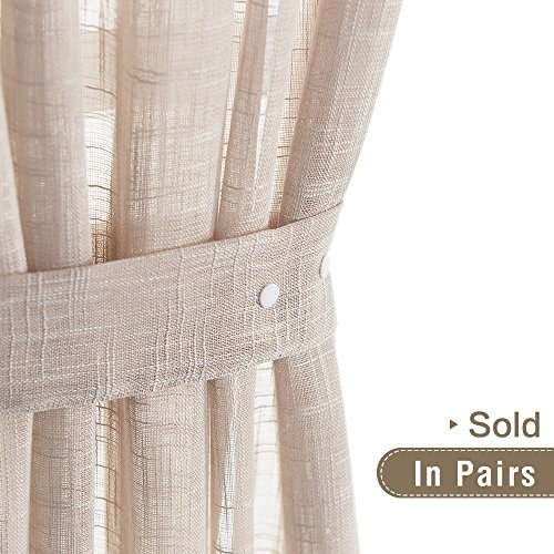 Lazzzy Linen Textured Curtain Hold-backs 2 Pieces Tie-backs for Sheer Curtains - Taupe, 24-inch (2 - Piece Sheer 2 Tie