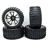 4pcs 118mm Black Parallel Pattern Rubber Tires Tyre & Plastic Wheel Rims For RC 1: 10 Off-road Car Truck
