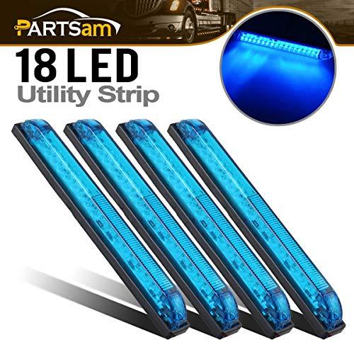 Partsam 4pcs Blue Slim Line Utility Strip 18 Diodes Sealed Light 8 Lighting & Decorating RV Boat Marine Interior Exterior