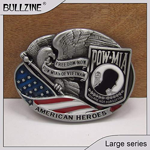 Buckes - The Wholesale Pow MIA Belt Buckle with Pewter Finish FP-02784 Suitable for 4cm Width Belt ()