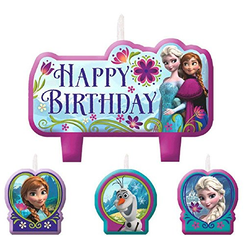 Disney Frozen Birthday Candle Set Assorted Size Party Decoration (4 Pack), Multi Color, . (Decorations Party Disney Frozen)