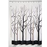 InterDesign Forest Shower Curtain, Gray and Black 54x78-Inch