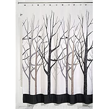 InterDesign Forest Shower Curtain, Gray And Black 54 X 78 Inch