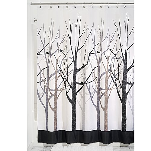 (InterDesign Forest Fabric Stall-Sized Shower Curtain for Master, Guest, Kids', College Dorm Bathroom, 54