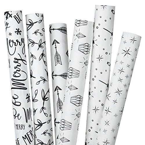 RUSPEPA Kraft Gift Wrapping Paper- White Kraft Paper with Black Pattern Design -6 Roll-30Inch X 10Feet Per Roll
