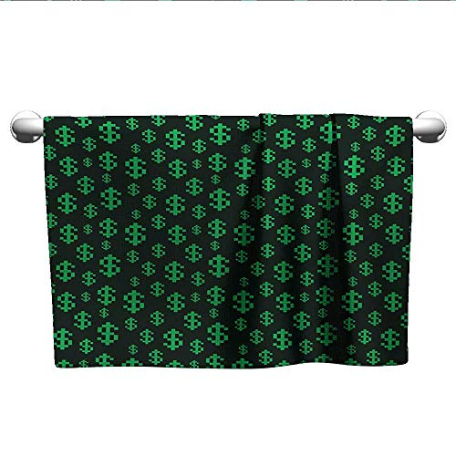 LilyDecorH Money,Wholesale Towels Pixel Art Inspirations in Eighties Style Dollar Sign Banking Business Quick-Dry Towels Dark Green Lime Green W 10
